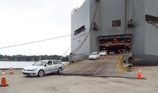 Cars exiting RoRo ship